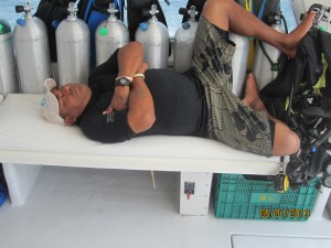 Dive master tired after taking good care of us.